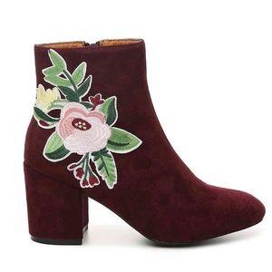 Catherine Malandeino Melky Burgundy Floral Booties